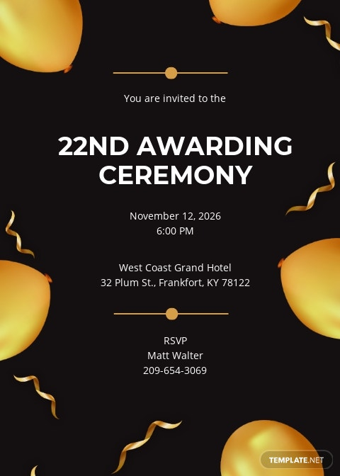 Award Ceremony Invitation Template