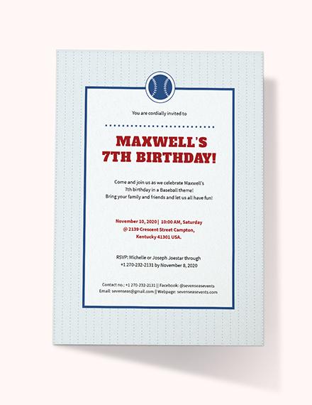 Baseball Birthday Invitation Download
