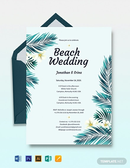 Beach Wedding Invitation Template Download 241 Invitations In
