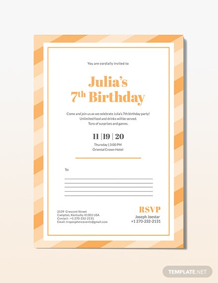 Birthday Postcard Invitation Download