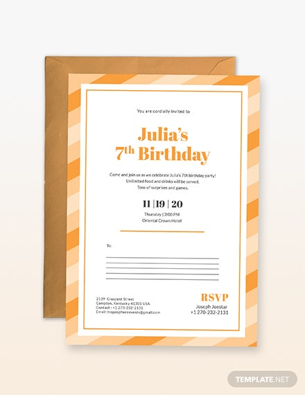 Birthday Postcard Invitation Sample