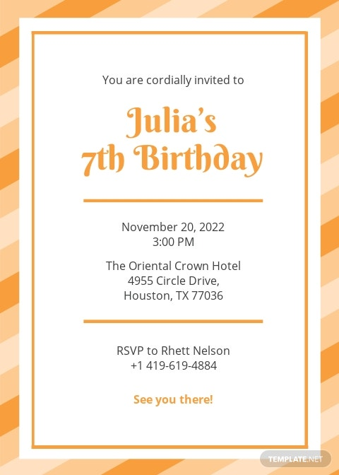 Birthday Postcard Invitation Template