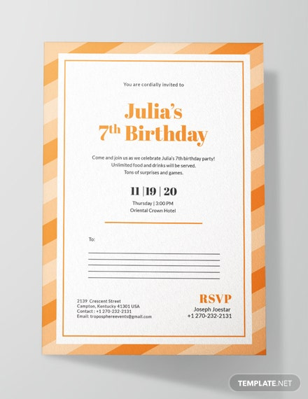 Birthday Postcard Invitation Template
