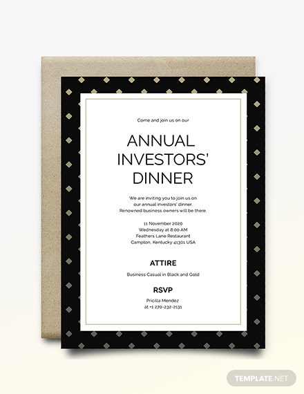 Business Dinner Invitation Template