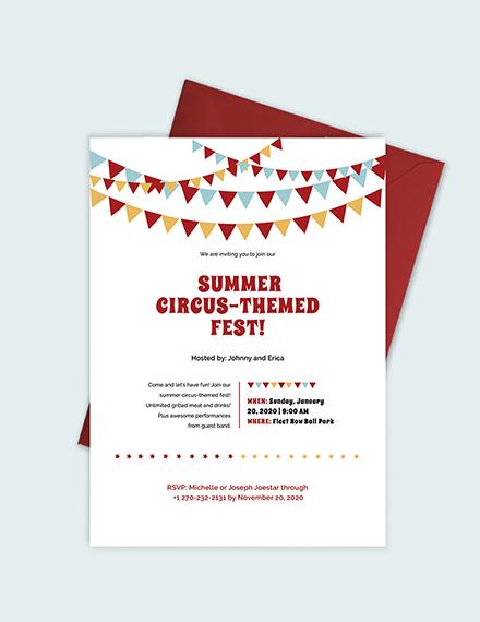Sample Circus Invitation
