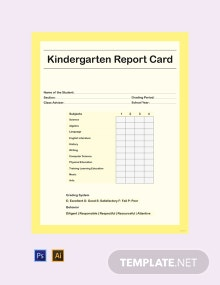 Free Kindergarten Report Card Template