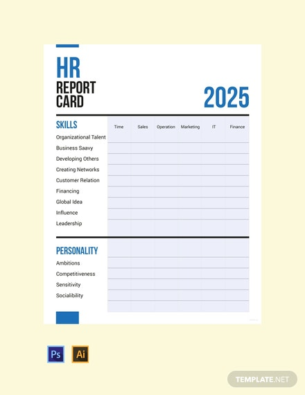 free hr report card template 440x570 1