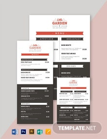 Small Restaurant Menu Template