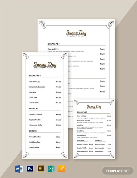 vintage breakfast menu template 1