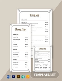 Vintage Breakfast Menu Template