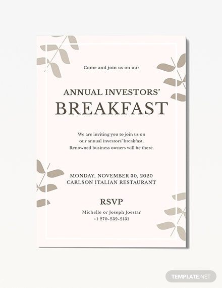Corporate Breakfast Invitation Template Word Psd Apple