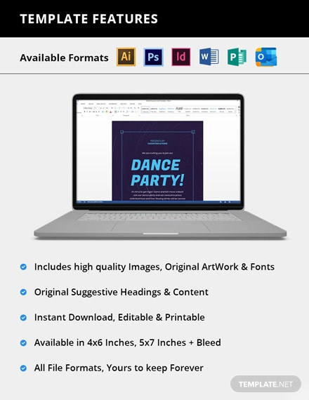 Editable Dance Party Invitation
