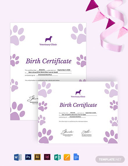 Pet Birth Certificate Template