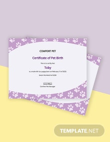 Creative Pet Birth Certificate Template