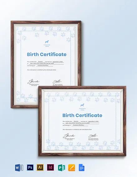 Simple Pet Birth Certificate Template