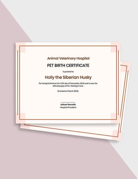 Puppy Birth Certificate Template