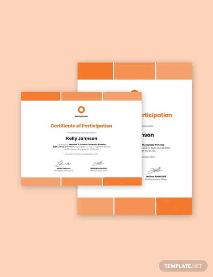 Modern Photography Participation Certificate Template
