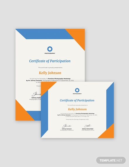 Simple Photography Participation Certificate Template