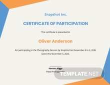 Creative Photography Participation Certificate Template