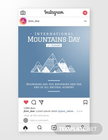 Free International Mountains Day Instagram Post