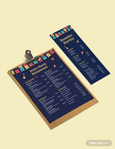 Chalkboard Mexican Menu Template