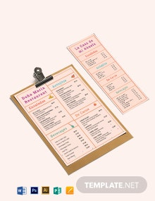 Simple Mexican Menu Template