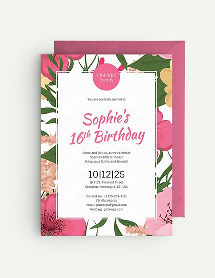 Girl Birthday Invitation Download