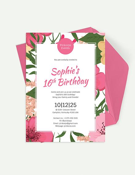Sample Girl Birthday Invitation