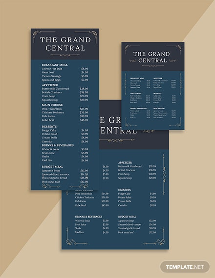 Elegant Menu Board Template