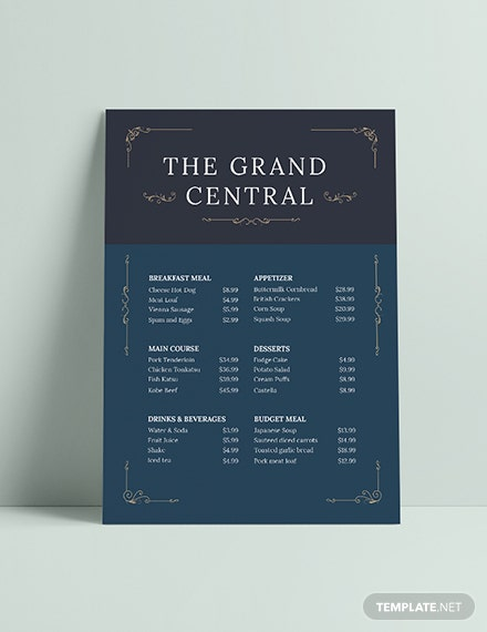 Sample Elegant Menu Board