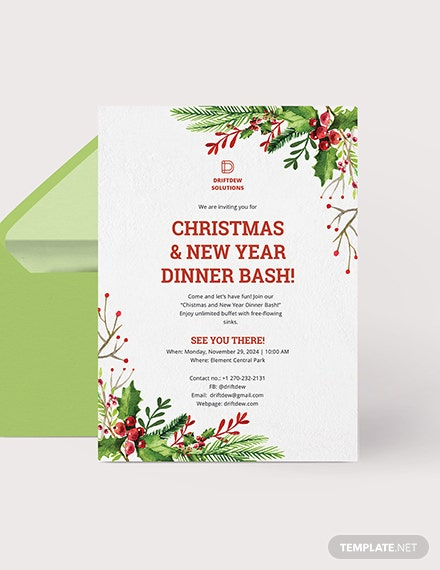 Holiday Dinner Invitation Download