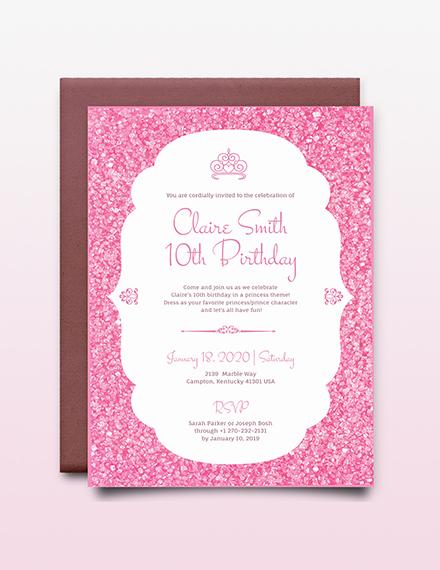 Princess party Invitation Download