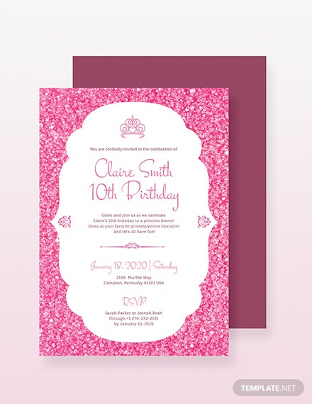 Princess Party Invitation Template Download 241 Invitations In