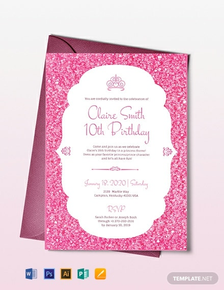 Princess party Invitation Template