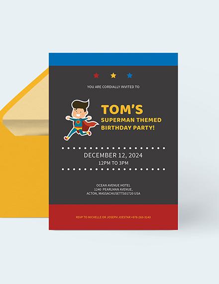 Superhero Birthday Party Invitation Download