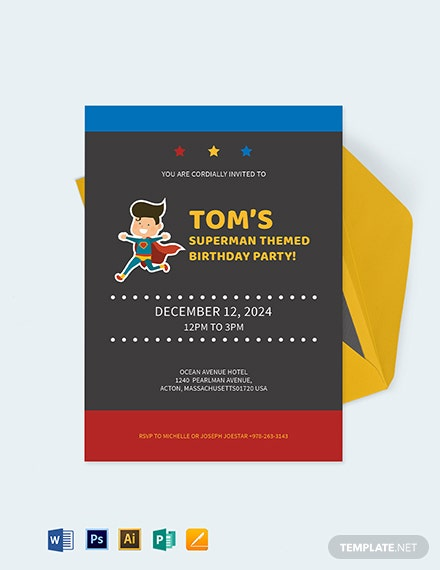 Superhero Birthday Party Invitation Template - Word | PSD