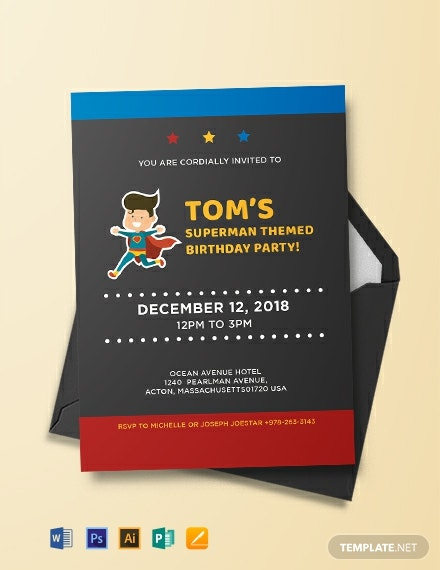 Superhero Birthday Party Invitation Template