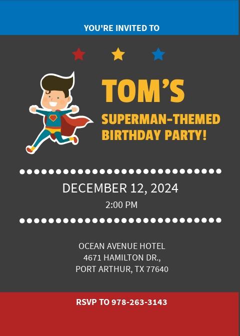 Superhero Birthday Party Invitation Template