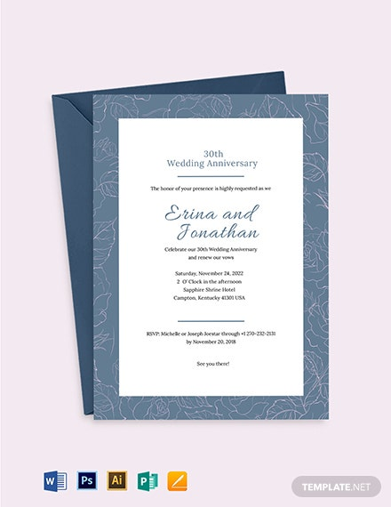 Wedding Anniversary Invitation Card Template