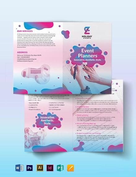 Event Planner Bi Fold Brochure Template