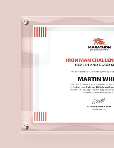 Sample Modern Prize Certificate