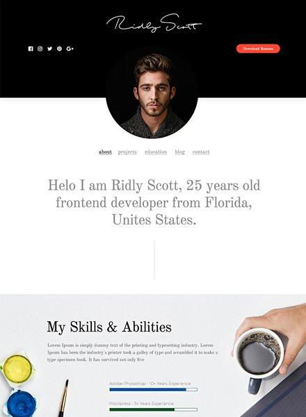 Free Resume and Portfolio HTML5/CSS3 Website Template