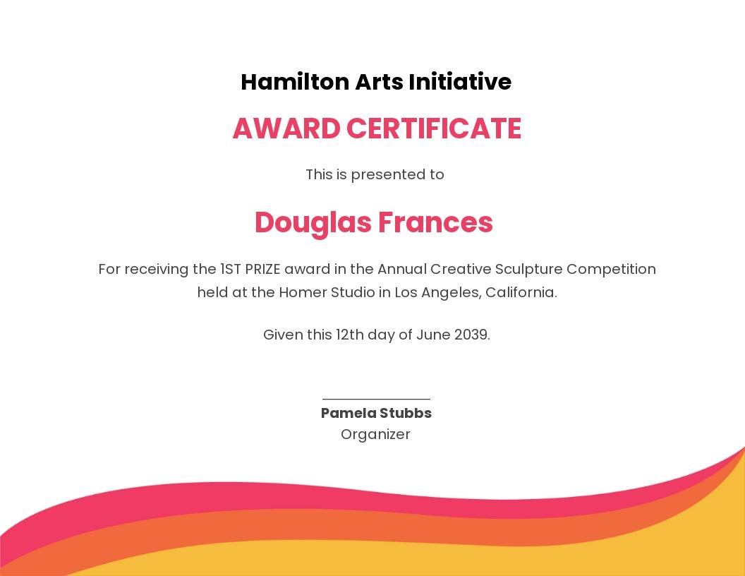 Creative Prize Certificate Template