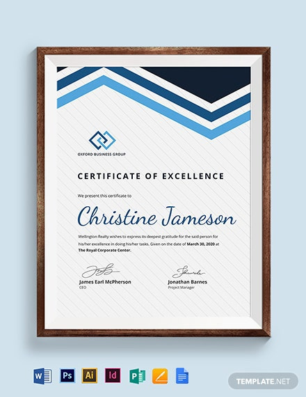 Employee Excellence Certificate Template