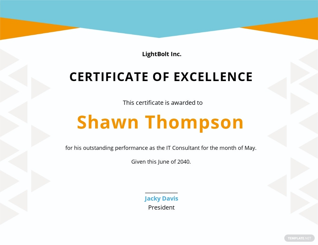 Simple Employee Excellence Certificate Template.jpe