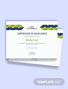 Formal Employee Excellence Certificate Template