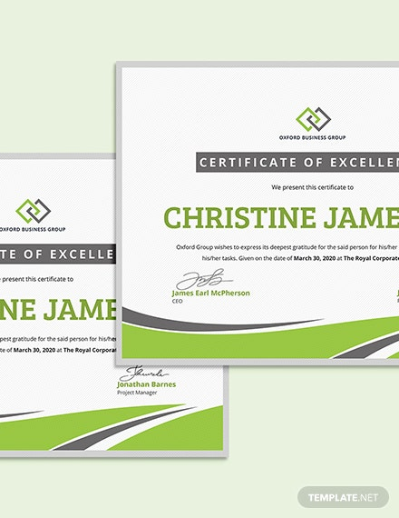 Modern Employee Excellence Certificate Download