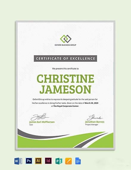 Modern Employee Excellence Certificate Template