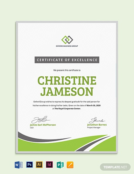 Modern Employee Excellence Certificate Template