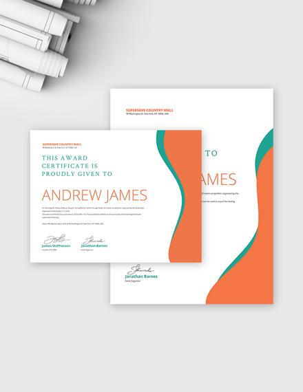 Winner Award Certificate Template
